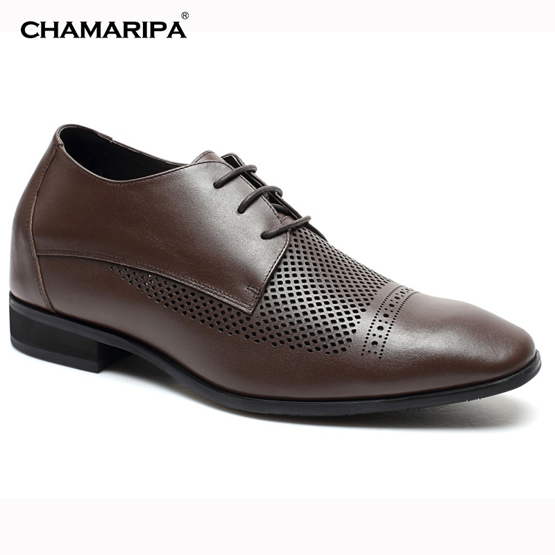 CHAMARIPA Increase Height 7cm/2.76 inch Elevator Shoe MensBreathable Brown Summer Sandals Gentlemen High Heel Shoes  Taller  chamaripa increase height 7cm 2 76 inch taller elevator shoes black mens leather summer sandals height increasing shoes