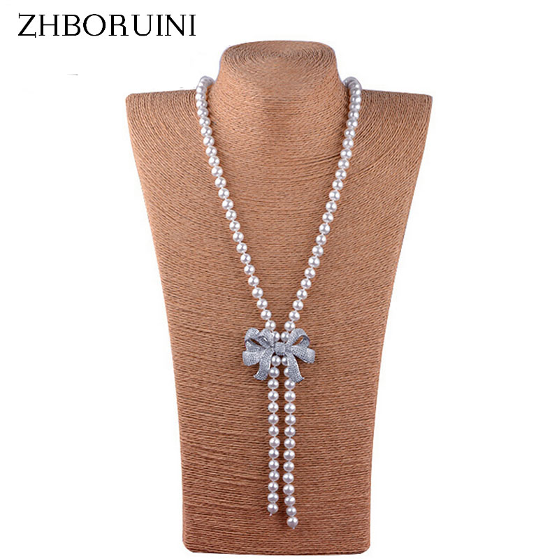ZHBORUINI 2017 Fashion Long Pearl Necklace High Guality Natural Freshwater Pearl Bowknot Women Necklace Jewelry For Women Gift elegant rhinestoned bowknot three layered faux pearl necklace and bracelet for women