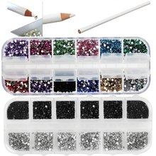 Arte profesional Del Clavo Del Kit del Sistema de Cera Blanca Piedras Picker Lápiz 1500 Colores Mezclados Piedras Preciosas En el Caso de Almacenamiento