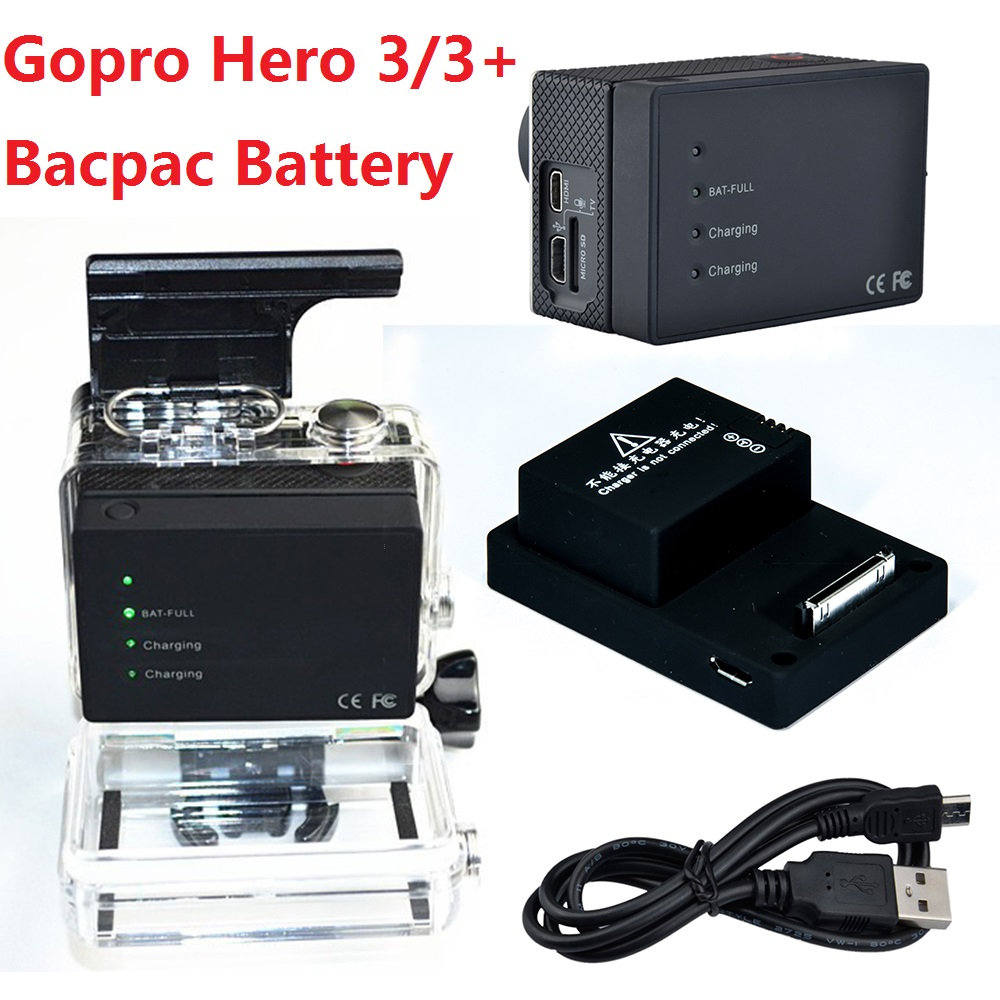 gopro extended battery bacpac 2300 mah portable rechargeable battery usb charging cable for. Black Bedroom Furniture Sets. Home Design Ideas