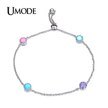 UMODE Hot Rhodium plated Link Chain With colorful AAA CZ  Stones Chain Bracelets For Women Gift Jewelry AUB0082B