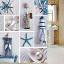 Waterproof Polyester Fabric blue sea life seashell waterproof shower curtain thicken shower curtain bathroom curtain  180*180cm