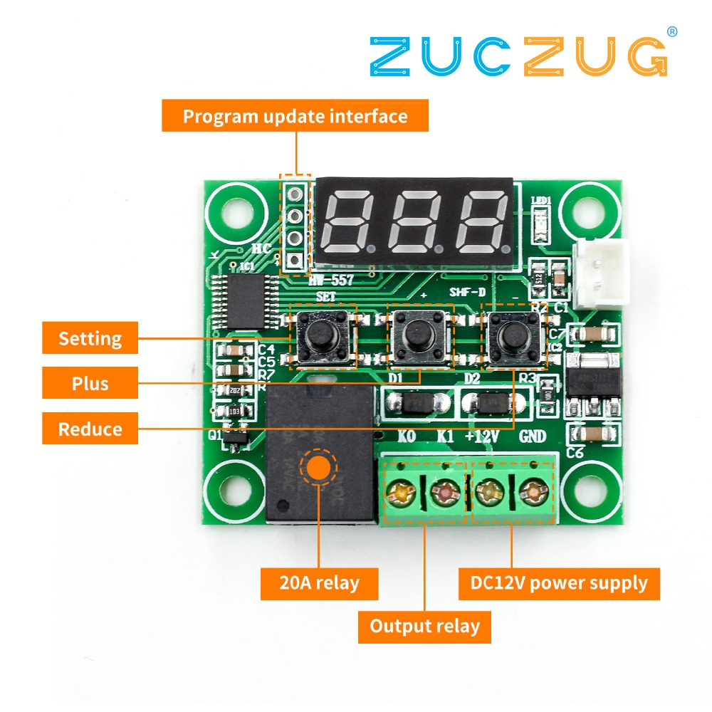 W1209 DC 12V LED Digital Thermostat Temperature Control Thermometer Thermo Controller Switch Module+Sensor
