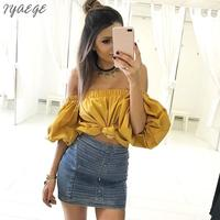 Pure Color Puff Sleeve Tunic Elastic Strapless Tank Top Women Female Clothes Bubble Sleeves Solid Women