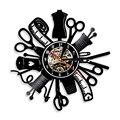 1 шт. Инструменты для ремонта  светодиодный силуэт  подсветка  шитье  современные виниловые настенные часы  изменение цвета  декор для гостин...