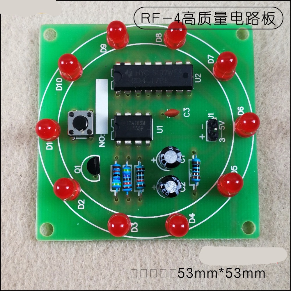 Round Lucky Rotary Suite Electronic Component Fortune CD4017+NE555 Interesting DIY Kit Wheel Electronic Parts electronic parts component resistors switch button kit for arduino