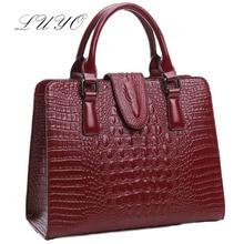 Genuine Leather Bag Ladies 2016 Crocodile Pattern Messenger Luxury Handbags Women Famous Brand Designer Alligator Fashion