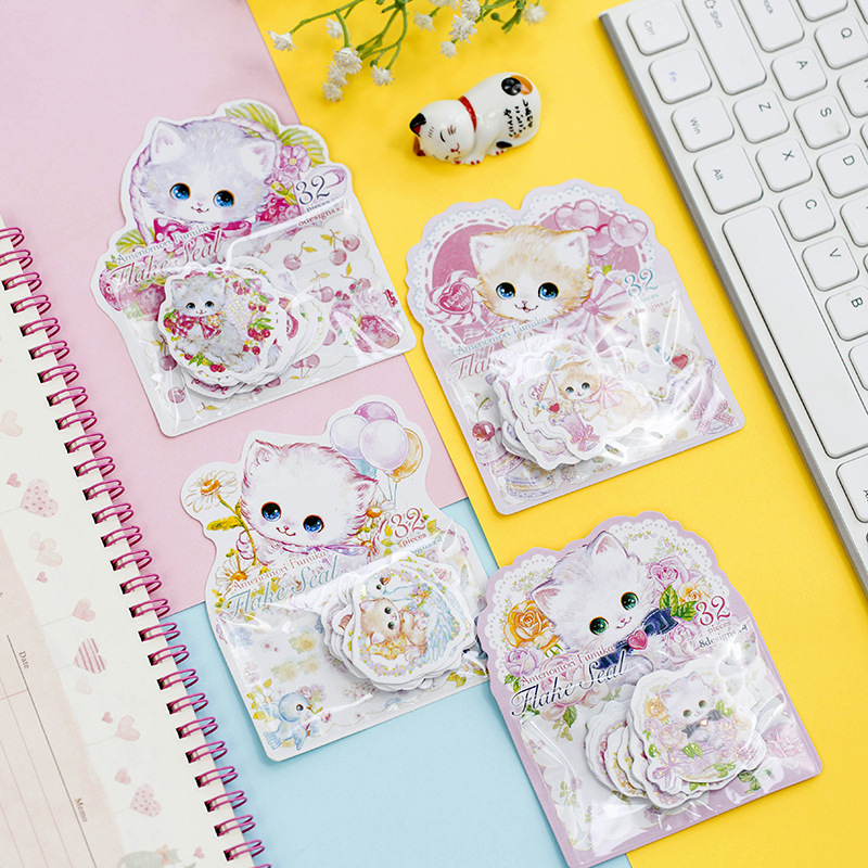 Kawaii Flower Lovely Cat Gilding Decorative Washi Stickers Scrapbooking Stick Label Diary Stationery Album Stickers
