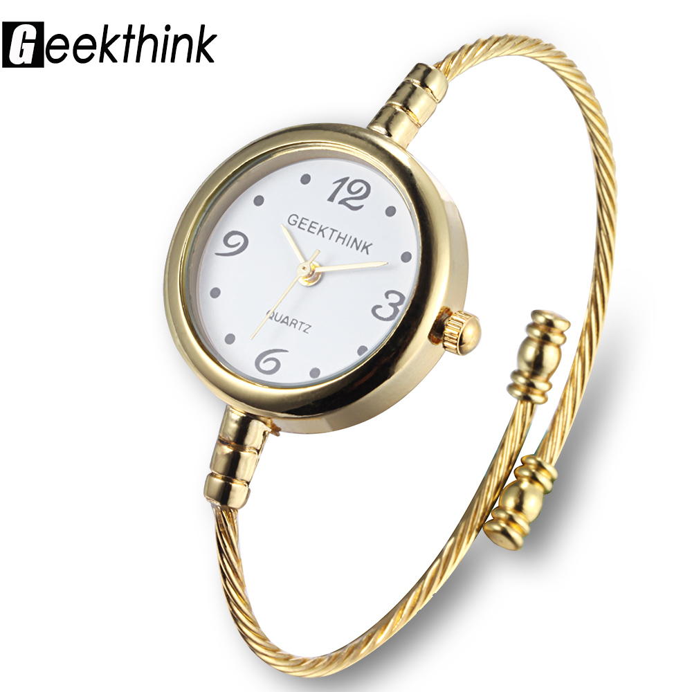 GEEKTHINK New Fashion Brand Quartz Watch-Women Lady female Dress Girls Bracelet Bangle Casual Simple Ring steel wristwatch new arrival bs brand quartz rectangle bracelet women luxury crystals bracelet watch lady rhinestone watch charm bangle bracelet