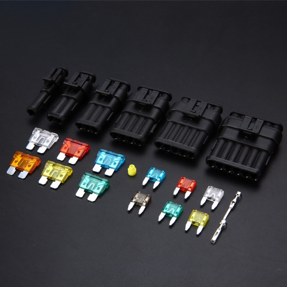 Mayitr 1 Set 1/2/3/4/5/6 Pin Way Car Waterproof Electrical Connector Terminal with Fuses Kit Automotive Wire Connector Plug 1 set  1 2 3 4 5 6  pin to choose seal