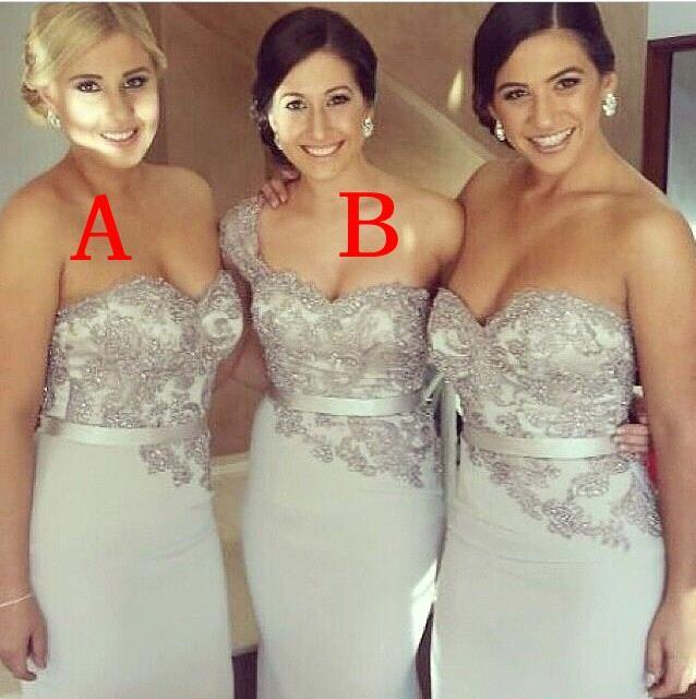 Silver 2019 Cheap Bridesmaid Dresses Under 50 Mermaid Sweetheart Lace Beaded Long Wedding Party Dresses For Women