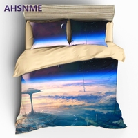 AHSNME View The Earth At High Altitude Duvet Cover Set Sci Fi City Scene Bedding Set