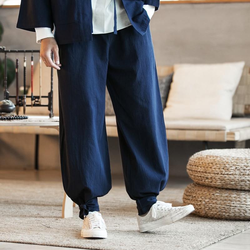 2020 Autunm Men's Plus Size Cotton Linen Harem Pants Men Jogger Trousers Streetwear Hip Hop Wide Leg Loose Casual Pants 7xl 6xl