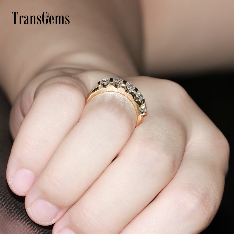TransGems Classic Solid 14K 585 Yellow Gold 1.25CTW 4MM F Color - Fine Jewelry - Photo 5
