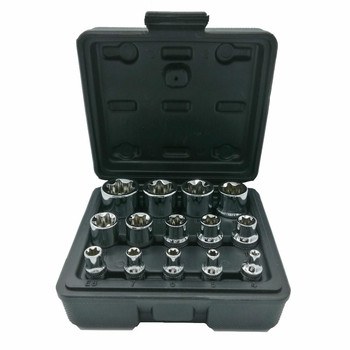 14PC E Torx Star Female Bit Socket Set with a Strong Case CRV 1/2