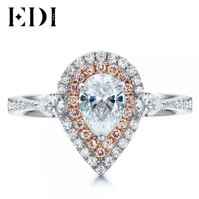 EDI 1CT груша Муассанит кольцо розовый сапфир 14 К белый цвет золота Def Лаборатория Grown Бриллиантовое Обручальное Свадебные украшения подарки