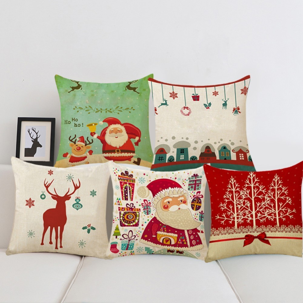 1pcs 45x45cm pillow case merry christmas decorations for home cartoon elk linen decorative pillows cover cushion