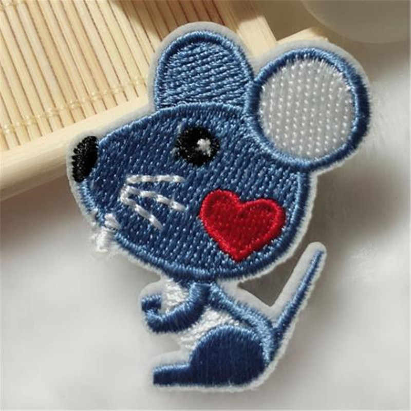 Clothing diy embroidery mouse animal badge iron on patch deal with it biker patches for clothes stickers fabric free shipping