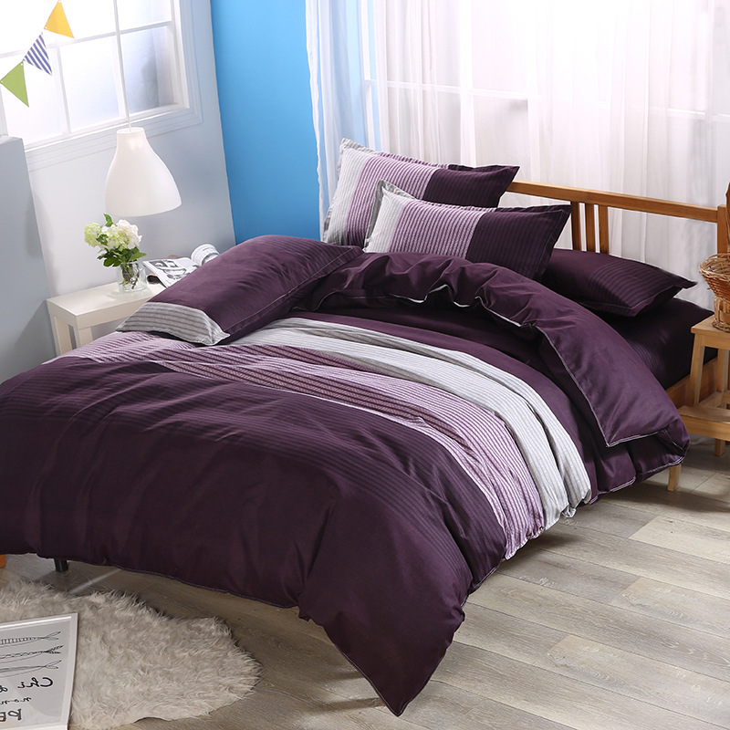 Z Jian Home Simple Stripes Style Duvet Cover Set 3pcs Bed Set Bed Linen Bedclothes Cotton Bedding Sets Twin Double Queen Size in Bedding Sets from Home Garden