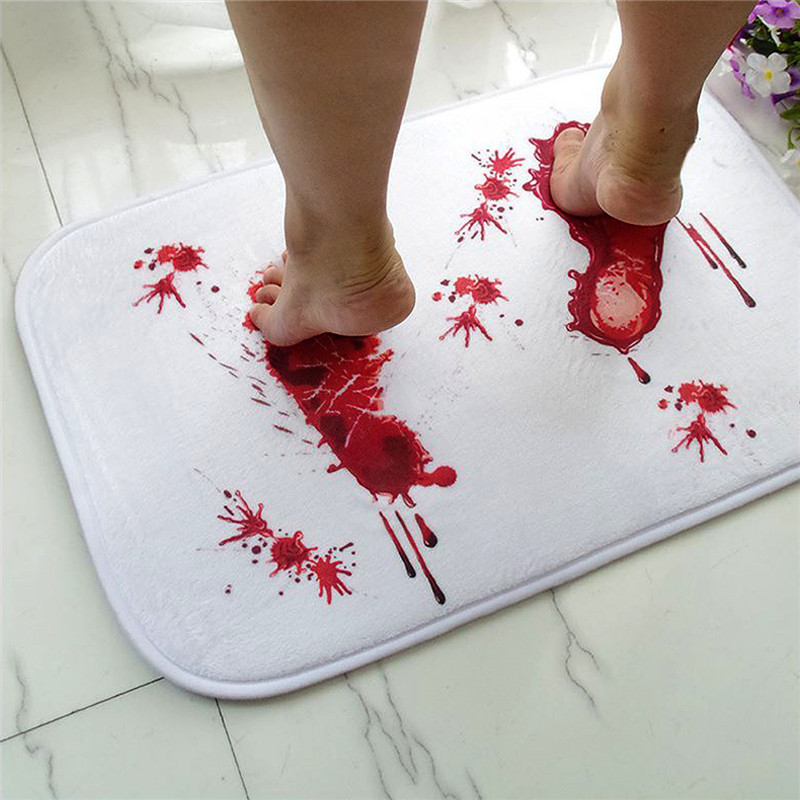 1 PC New 40*60CM Soft Blood Footprints Floor Mat Non-slip Scare Thriller Door Mats Halloween costume party Drcration