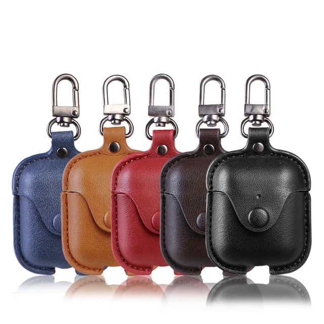 Airpods 2 Accessories For iPhone AirPods Case Key Luxury Leather Storage Bag Earphone Cover With Keychain