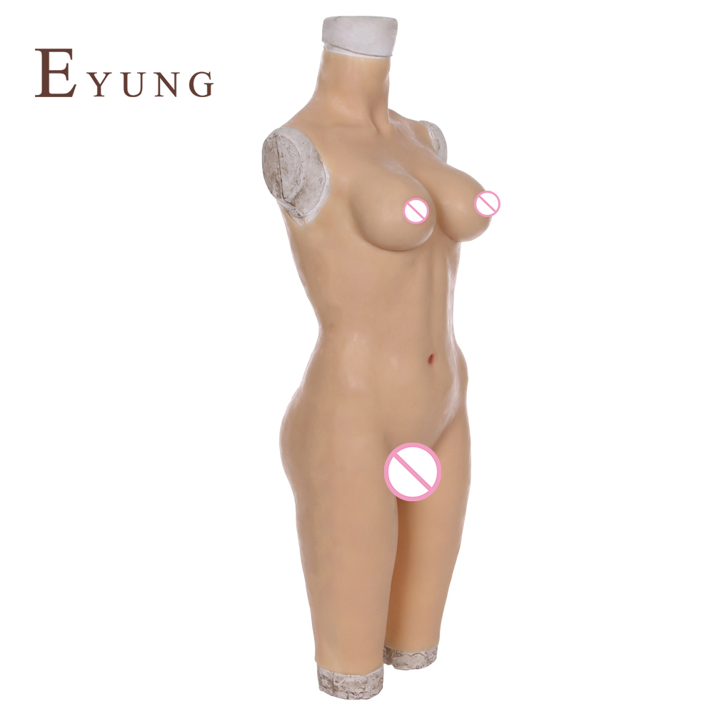 Image 5 - YR B5 S/L Body suit with breast form and fake vagina for drag queen cosplay Zentai suit for crossdresser realistic boobs chest