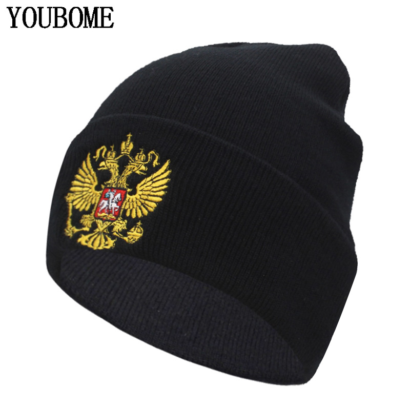 YOUBOME Winter Knitted Hat Women   Skullies     Beanies   Hats For Men Black Cap Russian National Emblem Gorros Bonnet   Beanie   Hat Caps