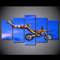 5 Pieces Motocross Limit Jumps Group Poster HD Prints Motorcycle Pictures Wall Art Canvas Paintings Home
