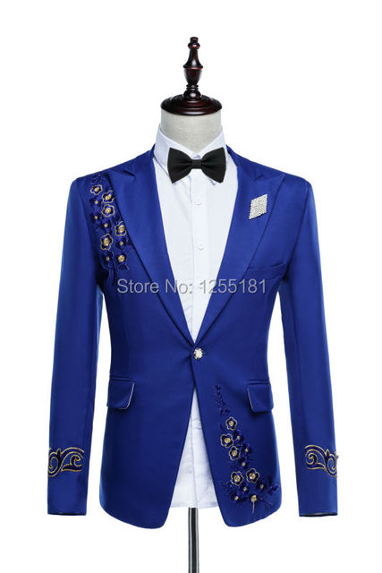 9db6f6dc06460 Fashion men embroidery blue suits singer costumes plus size S-4XL Nightclub  clothing set flower