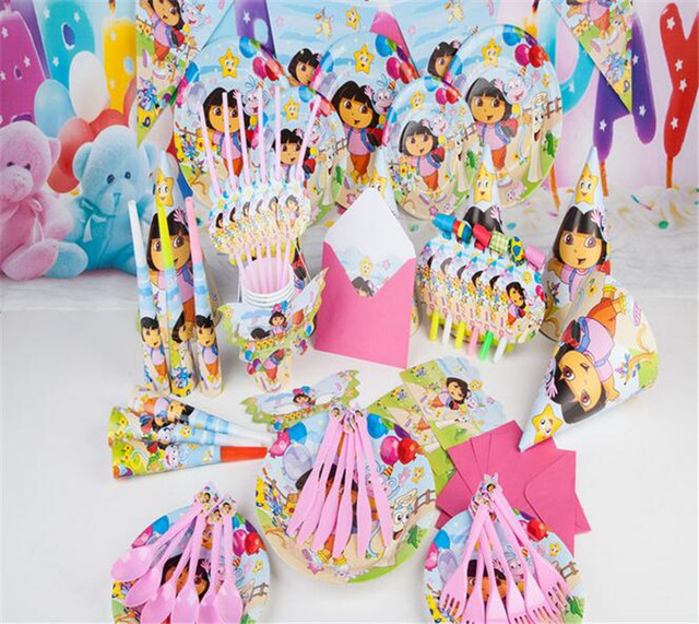 Cartoon Dora the Explorer theme party decor Disposable use tableware