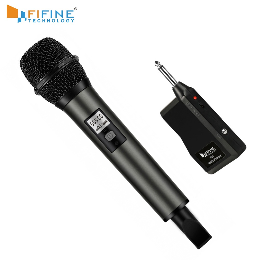 Fifine Wireless Microphone UHF Channels With Portable Receiver 1/4'' Output For Family Part KTV Bar Music Club Stage K035-1