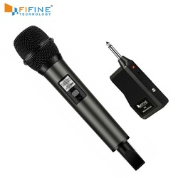 Fifine Wireless Microphone UHF Channels with Portable Receiver 1/4 Output for Family Part KTV Bar Music Club stage K035-1