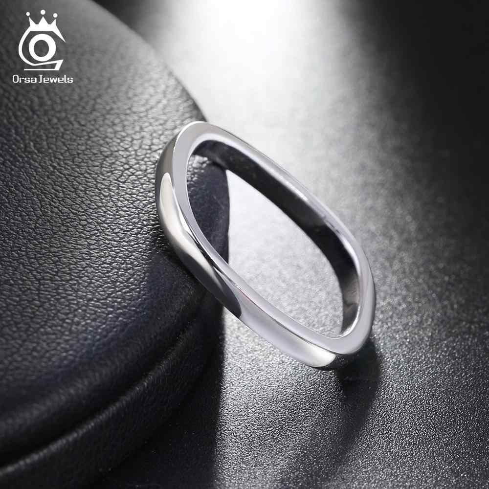 ORSA JEWELS 2 สีจริง 925 เงินแหวนรอบแหวนนิ้วมือผู้หญิงหมั้นเครื่องประดับของขวัญ ASR49