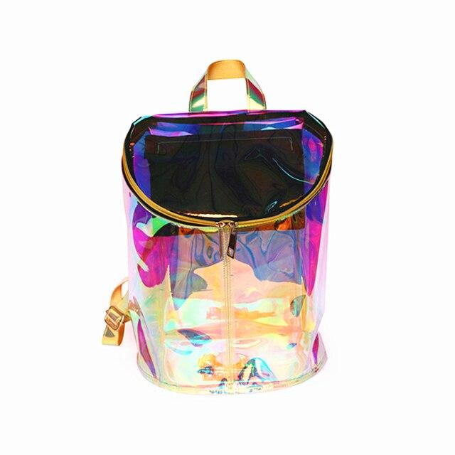2018 Women Bags Transparent Backpack bolsos de pvc Holographic High Quality  Laser Hologram Backpack Girls Shoulder