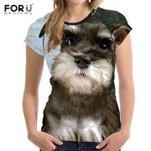 FORUDESIGNS T shirt Women Schnauzer Dog Printing T-shirt Ladies Funny Dog Pattern Summer Tees for Female Kawaii Tee Shirt Couple dog pattern dip hem tee