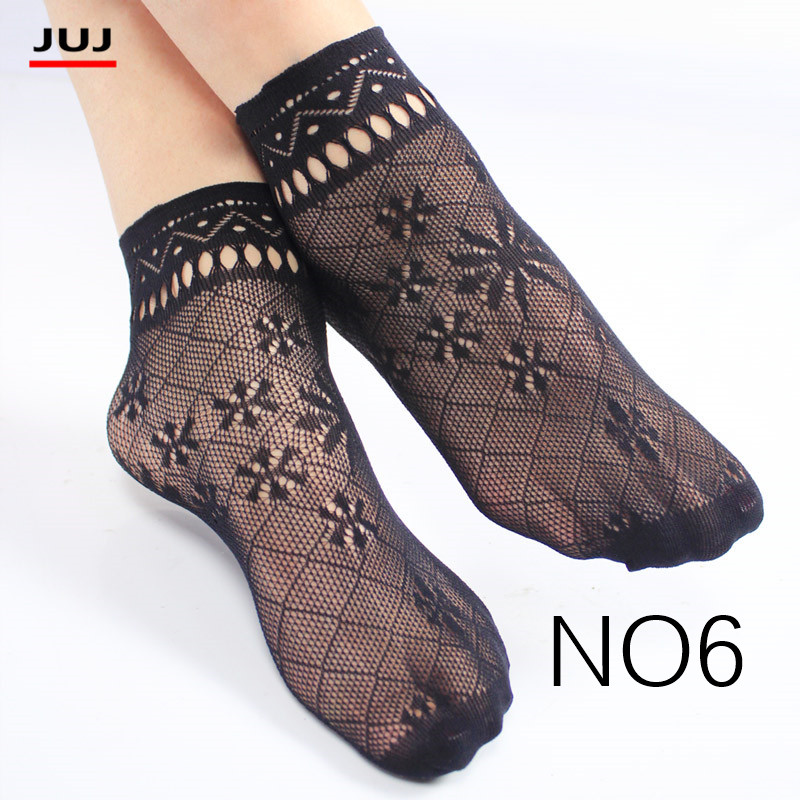 Harajuku Sale Women's Summer Sexy Mesh Silk Sock For Female Ultrathin Transparent Nylon Short Socks With Lace High Plus Size