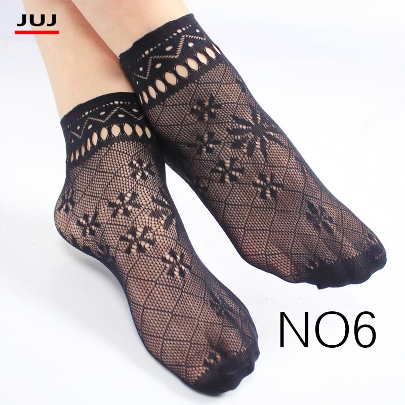 Harajuku Sale Women's Summer Sexy Mesh Silk Sock For Female Ultrathin Transparent Nylon Short Socks With Lace High Plus Size