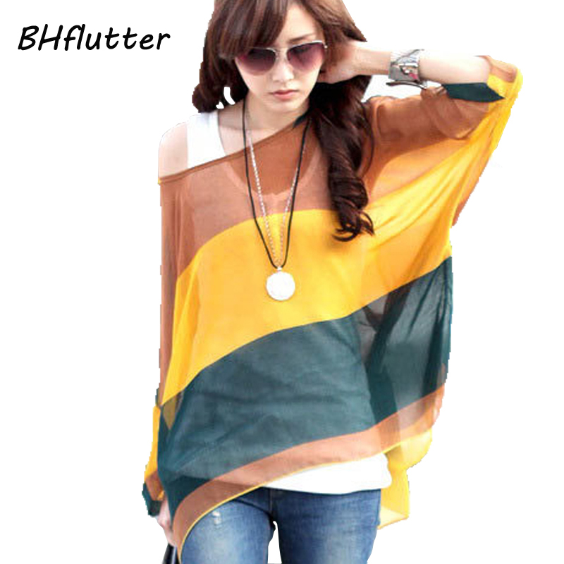 Summer Tops Women New Fashion 2018 Vintage Bohemian Clothing Batwing Sleeve Chiffon   Blouse     Shirt   Plus Size 6XL For Big Women