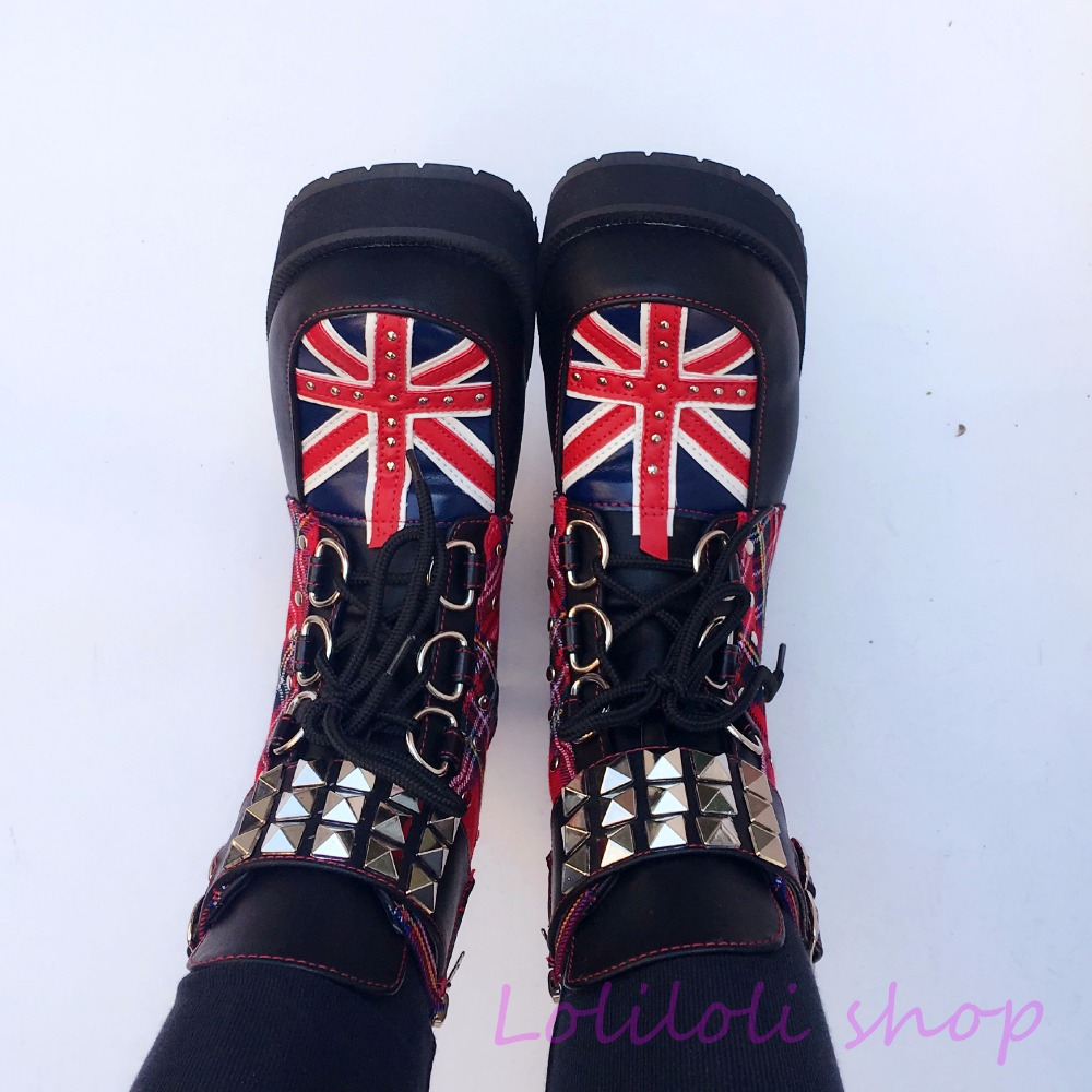 Princess sweet punk shoes loliloli yoyo Japanese design custom red-checkered pattern rivet lace-up square heel boots 6661