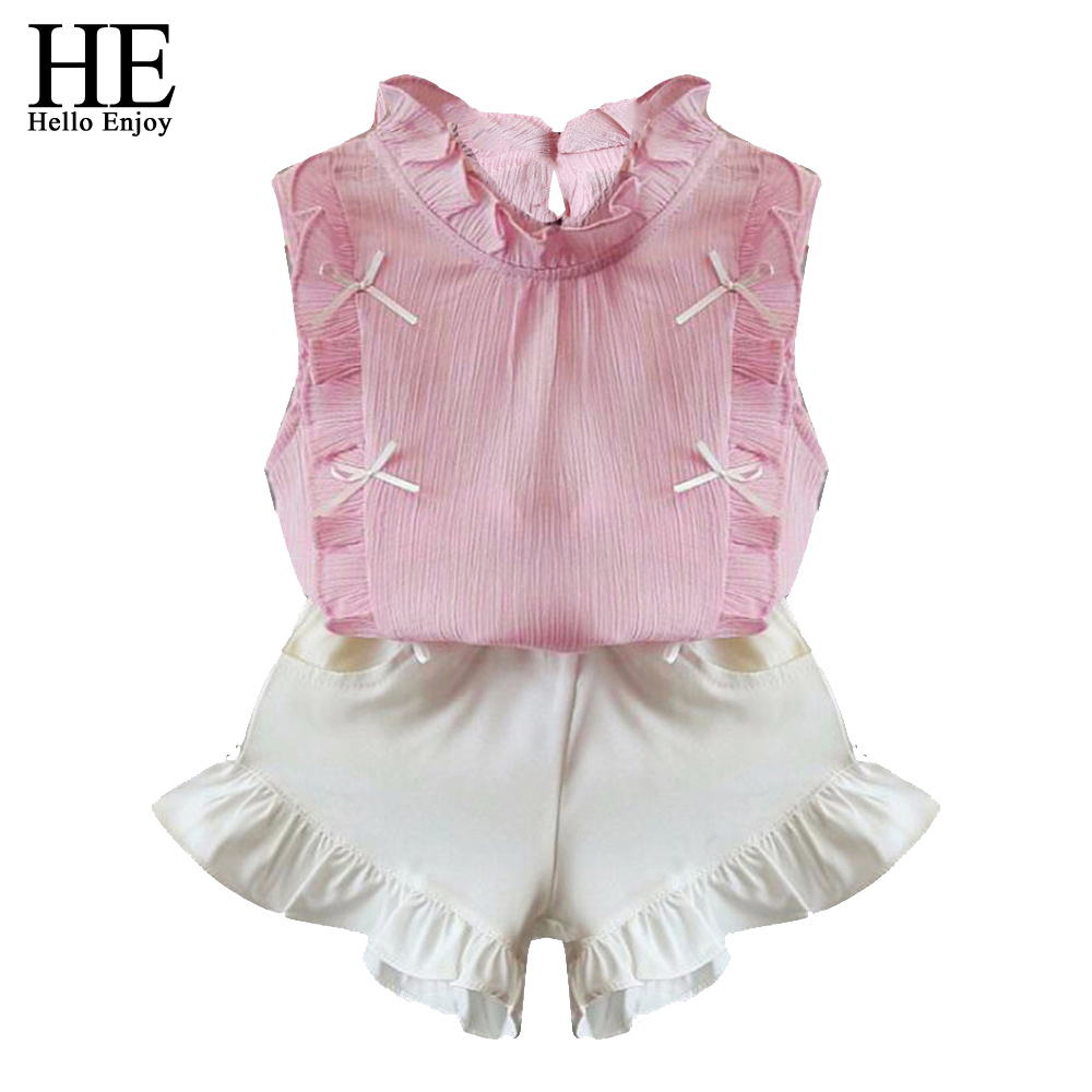 HE Hello Enjoy Children Clothing Sets Girls Clothes Summer Sleeveless Tops+Shorts Suits Kids Clothes For Girl Toddler Fashion he hello enjoy toddler girls clothes autumn winter girl clothing sets 2017 long sleeved jacket skirt pants flower clothing set