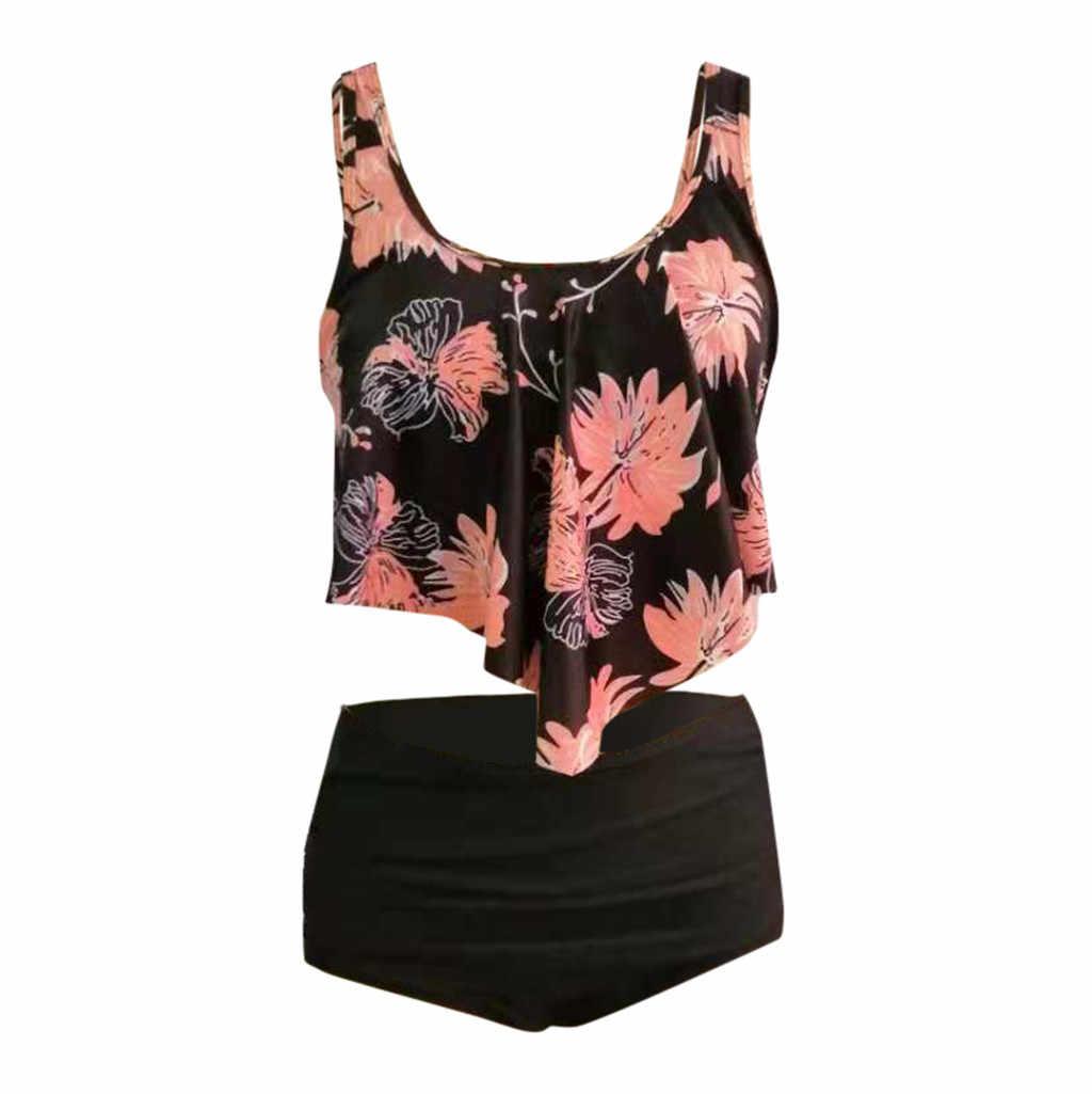 Women's Beach Sexy Swimwear Women's Bohemian Print Swimsuit Two-Piece High Waist Bikini Set Plus Size Bikini #C