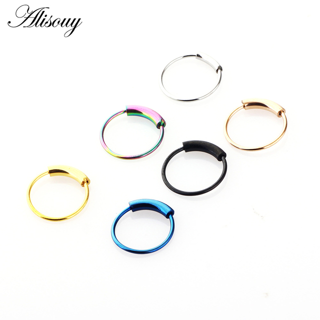 Alisouy Hinged Clicker Seamless Piercing Nose Ring Hoop Lip Ear Ring Body Jewelry 2