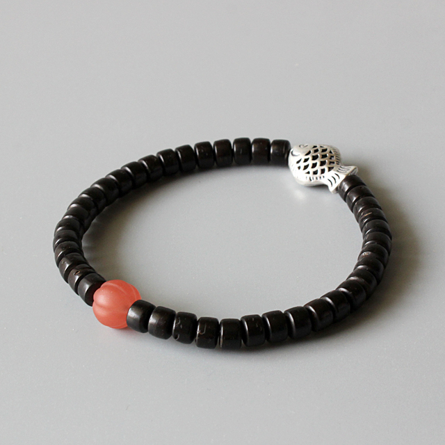 Wholesale Natural Red Agate Coconut Shell Stretch Bracelets With Antique Copper Fish Charms Zen Buddhism Lucky Jewelry For Women