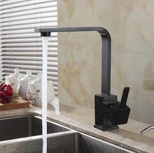 Бесплатная Доставка Полированный Черный Латунь Поворотный Кухня смесители для Раковины Кран 360 градусов вращающийся Кухонный Смеситель раковина водопроводный кран