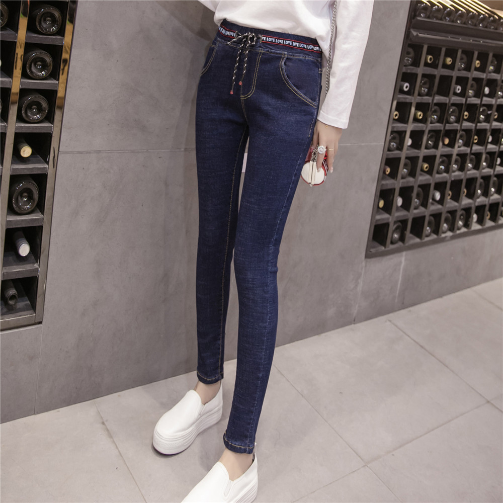 Autumn Hot Sale Women Slim Blue Jeans Casual Lace Up -8901