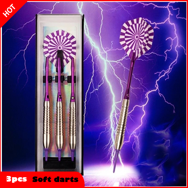 3pcs/ a set of professional 18 grams soft dart needle electronic safety game dart box set 18g Purple New