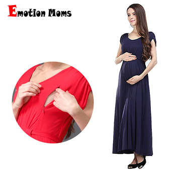 Emotion Moms Fashion long Maternity Clothes Lactancia Nursing Dresses Breastfeeding Dress Women Pregnant Evening Dress fashion high waisted hang neck dress for pregnant women wine red lace halter backless dresses long style ladies evening clothes