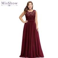 Evening Dress Plus size Sleeveleless Lace Chiffon evening dresses long 2019 Cheap Party Dresses Formal Gown vestido de festa