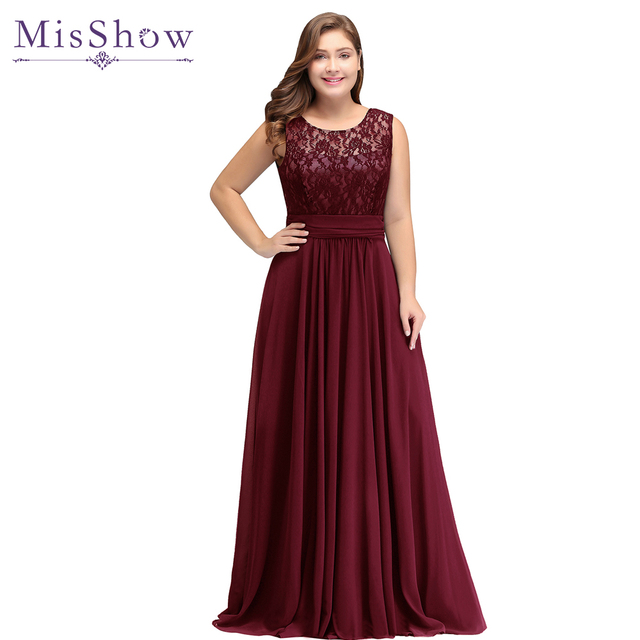 Evening Dress Plus size Sleeveleless Lace Chiffon evening dresses ...