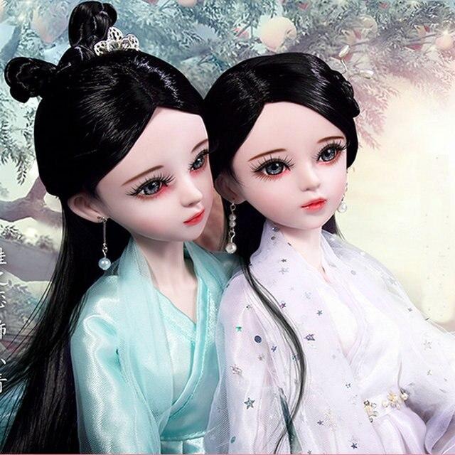 Handmade 60CM Large Girl Dolls Full Set Chinese Costume TV Figures 1/3 Bjd Doll 23 Jointed 3D Eyes Girls Toys for Children Gift